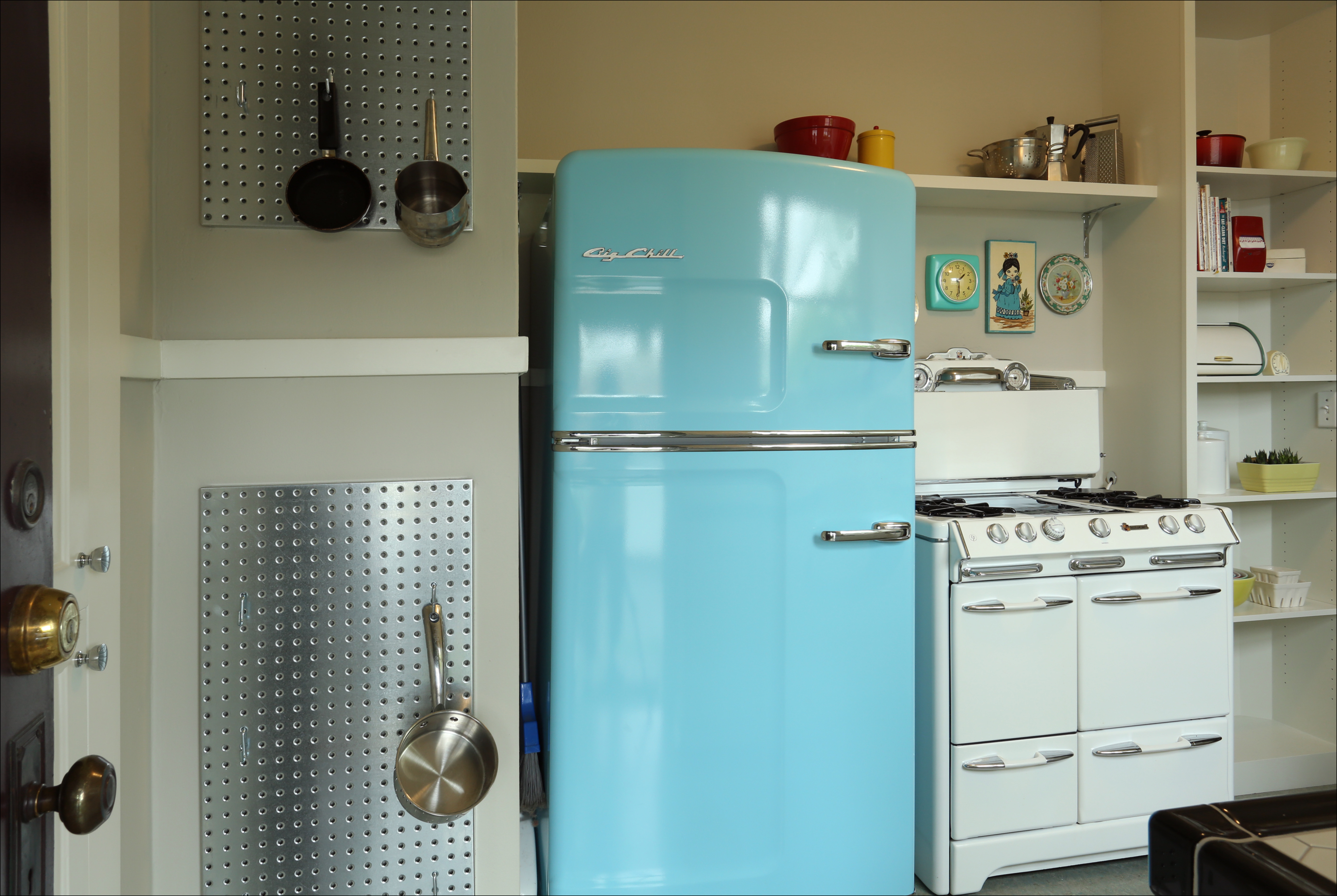 This 1931 era appropriate kitchen features a big chill refrigerator design by kristyn bester